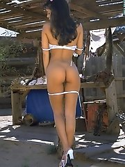 Linda ONeil in Pink Shorts White Lace Bra Farmer Girls Hideout